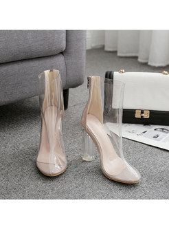 Pointed Toe Transparent Chunky Heel Short Boots