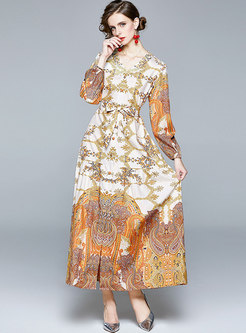Retro V-neck Puff Sleeve Print Maxi Dress