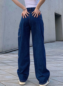 High Waisted Loose Straight Long Jeans