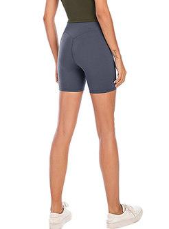 Pure Color High Waisted Yoga Knee-length Shorts