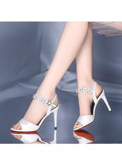 Round Toe Thin Heel Flower Buckle Sandals