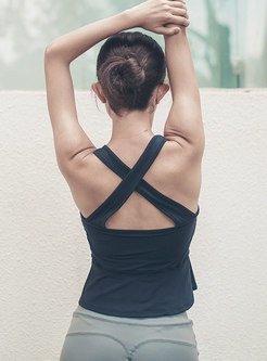 Scoop Cross Backless Pullover Tight Yoga Top