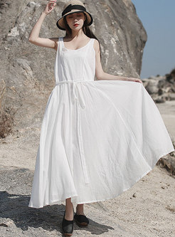 White Sleeveless Tie-Waist Big Hem Maxi Dress