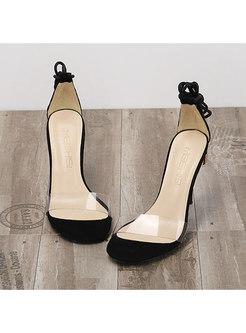 Flock Transparent Lace-up High Heel Sandals