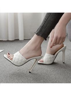 Square Toe Diamond Plaid Thin Heel Slippers