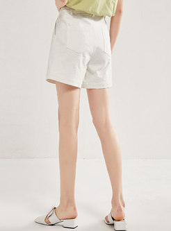 White High Waisted Straight Denim Shorts