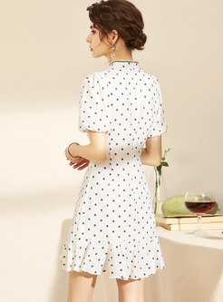 Retro Mandarin Collar Polka Dot Peplum Mini Dress