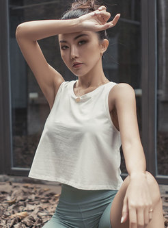 Sleeveless Back Openwork Cropped Sports Top