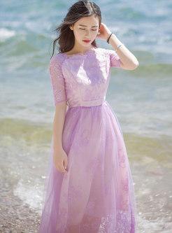 Bohemian Crew Neck Lace Mesh Maxi Dress