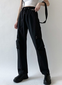 Black High Waisted Cargo Pants With Ribbon