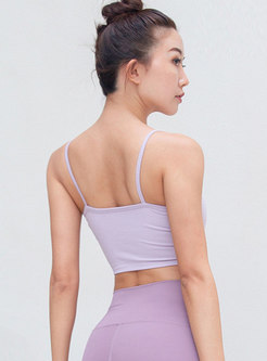 Solid Color Shockproof Gathered Fitness Sports Bra