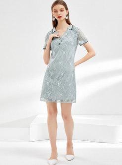 Turn Down Collar Loose Shift Mini Lace Dress
