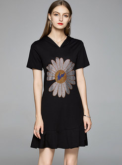 Casual Hooded Loose Peplum T-shirt Dress