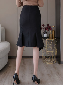 Pure Color High Waisted Bodycon Skirt