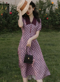Purple Lapel Puff Sleeve Plaid Midi Dress