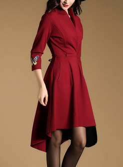Stitching Slim Asymmetry Hem Skater Dress