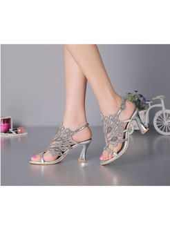 Pointed Toe Rhinestone Mid Heel Sandals