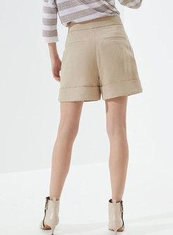 High Waisted Belted Loose Wide Leg Shorts