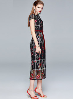 Crew Neck Embroidered Mesh Patchwork Party Dress