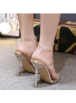 Transparent Rhinestone Thin Heel Sandals