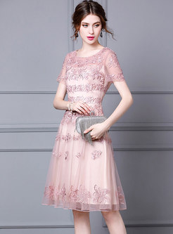 Crew Neck Mesh Embroidered Party Dress