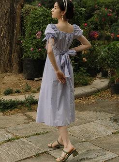 Square Neck Puff Sleeve Bowknot Midi Dress