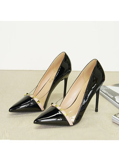 Patent Leather Patchwork Rivet Thin Heel Shoes