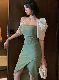 Color Block Puff Sleeve Sheath High-low Dress