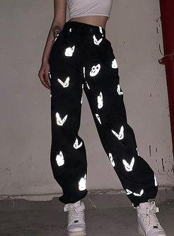 Butterfly Print Black High Waisted Harem Pants