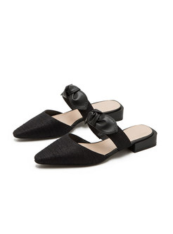 Pointed Toe Color-blocked Bowknot Low Heel Slippers