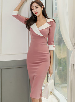 Color-blocked Notched Bodycon Knee-length Dress