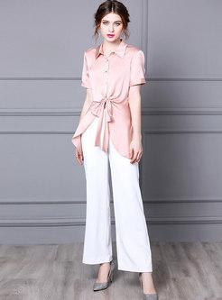 Pink Asymmetric Blouse & Long Wide Leg Pants