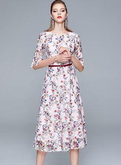 Crew Neck Lace Patchwork Floral Midi Dress