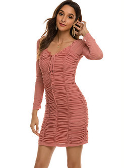 V-neck Long Sleeve Pleated Bodycon Mini Dress