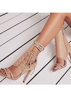 Fashion Openwork Lace-up Summer Short Boots