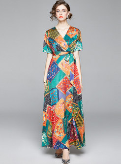 V-neck Short Sleeve Polka Dot Print Maxi Dress