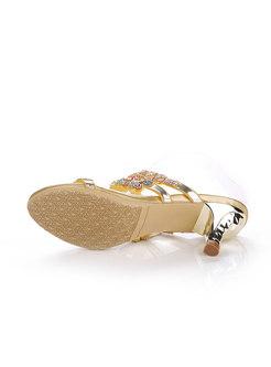 Round Toe Rhinestone Mid Heel Slippers