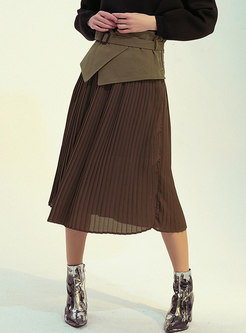 Color-blocked High Waisted Patchwork Pleated Skirt