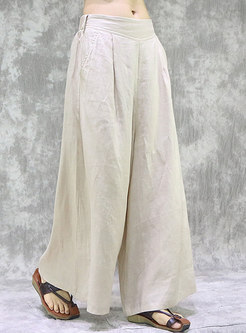 Solid Color High Waisted Linen Palazzo Pants