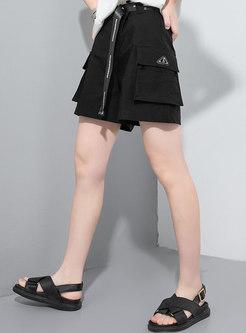 Casual High Waisted Straight Cargo Shorts