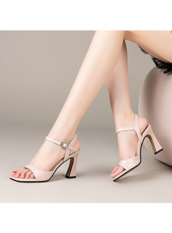 Leather Square Toe Chunky Heel Buckle Sandals