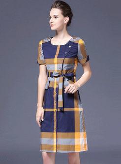 Casual O-neck Short Plaid Skater Dress