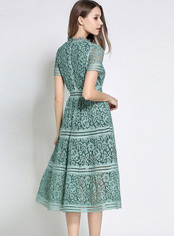 Mock Neck Lace Openwork Midi Cocktail Dress