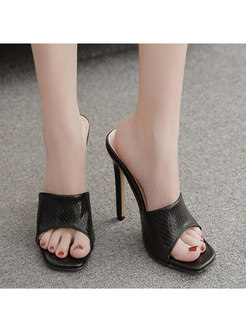 Pure Color Square Toe Thin Heel Slippers