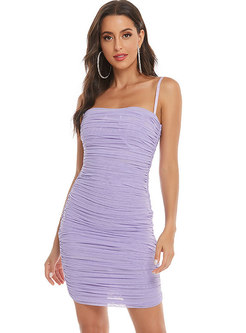 Bandeau Mesh Pleated Sheath Bodycon Mini Dress