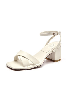 Square Toe Cross Leather Chunky Heel Sandals