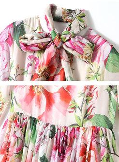 Bowknot Long Sleeve Print Chiffon Maxi Dress