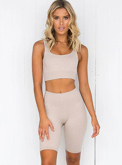 Crew Neck Sleeveless Tight Yoga Short Tracksuit