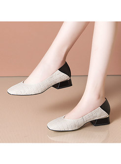 Color-blocked Square Toe Low Chunky Heel Shoes