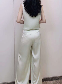 Brief V-neck Sleeveless Chiffon Wide Leg Pant Suits